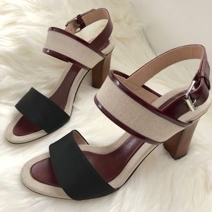 CELINE LEATHER TRIMMED CANVAS SANDALS
